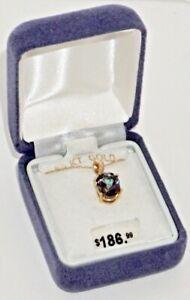 Gorgeous 10K Yellow Gold Mystic Topaz w Diamond Accent Purple Green ~New in Box