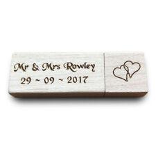 Personalised Engraved Wood USB Memory Stick Wedding Photos Keepsake Gift Present