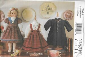 """Vogue 7099 Teresa Layman pattern for 18"""" Heirloom Doll Clothes, Dress Variations"""
