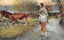 Girard KS Going to Milk the Cows~Milkmaid on My Shoulder~Gold Font c1910 Sample