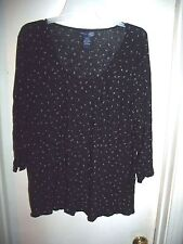 Venezia Navy Blue 4 Leaf Clover Sheer 3/4 Sleeve Size 18/20