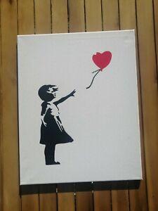 Banksy Dismaland Canvas original Spray Fille Ballon rouge