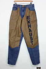 Exhaust jeans 32 29 x 32 vintage 90s leather pants denim hip hop high waist mint