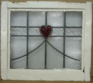 """OLD ENGLISH LEADED STAINED GLASS WINDOW Lovely Red Heart & Sweep 20.5"""" x 17.75"""""""