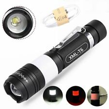 Tactical 10000LM XML T6 LED USB Rechargeable Zoomable Flashlight Torch Light AU