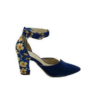 """Women's blue floral platform 3"""" 1/2  high heel dress shoe Luxury Hand made sz6.5"""