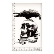 Makeup Body Art Skull Crow Expendable Men Waterproof Temp Tattoo Stickers POP