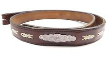VINTAGE WESTERN LEATHER BELT ENGRAVED SILVER PLATED ACCENT CODY WYOMING SZ:34