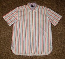 EUC TOMMY HILFIGER MENS L LARGE STRIPED SHORT SLEEVE BUTTON FT POLO SHIRT