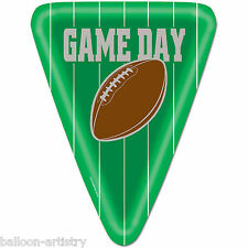 "8 American Football GAME DAY Party Green Triangle Large 10"" Paper Plates"