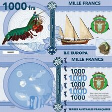 Europa Island 1000 francs 2018 UNC Mantis Shrimp Sailing Ship Private Issue