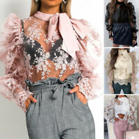 ZANZEA Women Bow Tie Puff Sleeve Lace Patchwork Shirt Cocktail Party Tops Blouse