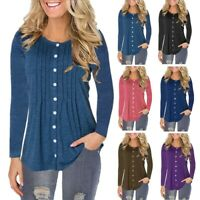 Women's Button Loose Long Sleeve T-Shirts Tunic Blouse Ladies Casual Baggy Tops