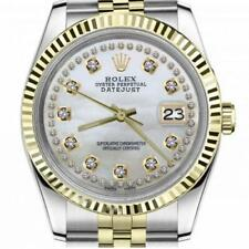 Rolex Oyster Perpetual Datejust White Mother of Pearl with Two Row Diamond Dial