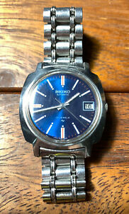 Seiko 7005 7130 Japan Move blue dial 17j vintage Mens Wrist Watch Running Well