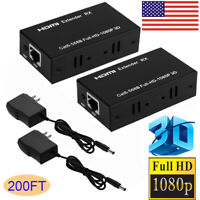 1080P HDMI Network Extender Over Single Ethernet Cable CAT 5E/6 RJ45 3D HD 200FT