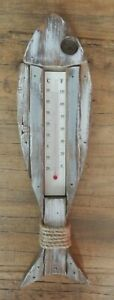 LARGE WOOD FISH THERMOMETER NAUTICL SEA RUSTIC STYLE HOME SUMMERHOUSE UK SELLER