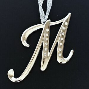 Harvey Lewis Christmas Ornament Large Script Monogram M Swarovski Crystals