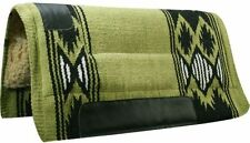 """32""""x34"""" LIME GREEN Wool Top Western Cutter Style Saddle Pad w/ Navajo Design NEW"""