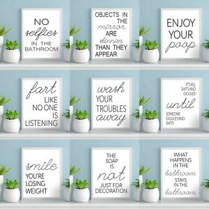 Bathroom Typography Prints Minimalist Wall Funny Art Poster Quality Toilet A4 A5