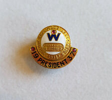 1937 President lapel pin Westinghouse Electric spins top part tested 14k base GF