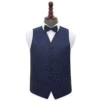 DQT Woven Swirl Patterned Black & Blue Mens Wedding Waistcoat & Bow Tie Set