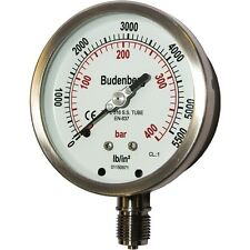 "Budenberg Pressure Gauge 100MM 736 40BAR (& psi equiv), 1/2""NPT Bottom Conn"