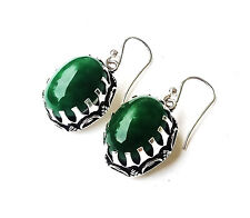 "Silver Plated Beautiful Earring=1.50""Handmad e 39 Ct. Green Jade Vintage Style"