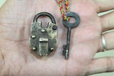 1900's Antique Beautiful Shape Handmade GAMA Marked ALIGARH BRASS PAD LOCK #174