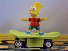 Micro Scalextric Bart Simpson on his skateboard fully serviced car HO slot car