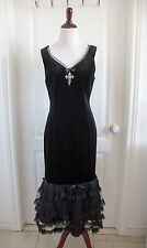 Vintage Gothic Punk Evening Formal Dress Black Velvet Lace Tuile Cross Small