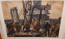 "MITCHELL JAMIESON ""REFUELING DESTROYERS"" LARGE COLOR MILITARY LITHOGRAPH"