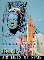 Andalusia Spain 1950 Iberia Airline Of Spain Seville Vintage Poster Print Art
