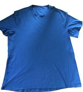 LULULEMON Mens Tech Short Sleeve sz XL Teal Blue EUC Running Reflective Run