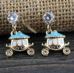 New Betsey Johnson Jewelry Lady's lathe Claus Clear Rhinestone Earrings Fashion