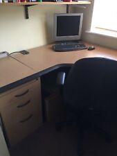 L Shaped Corner Desk Radial Workstation With Drawers Cabinet Large