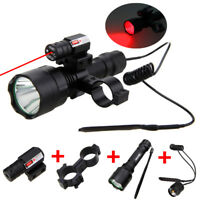White/Red/Green LED Flashlight Hunting Torch Light With Gun Mount Laser Switch