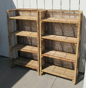 "Vintage TWO Wicker Rattan Book Cases /Plant Stands Boho Chic 45""H x 24""W x 12""D"