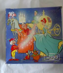 VINTAGE DISNEY CINDERELLA 1983 JIGSAW PUZZLE 16 WOOD PIECE FALCON RARE COMPLETE