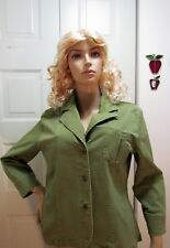 Women's Jacket GonlCamell Army Green Studded Buttons Closure Pocketk Size 12