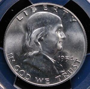 1954 D FRANKLIN HALF DOLLAR PCGS MS 65 SATIN SMOOTH WHITE GEM