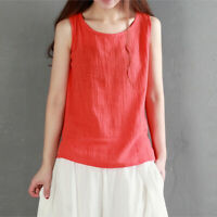 Comfy Women Lady Cotton Linen Sleeveless Tank Tops Vest Camisole Basic Tee Shirt