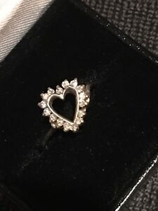14K Solid White Gold Heart Ring with .25 CT Natural Diamonds