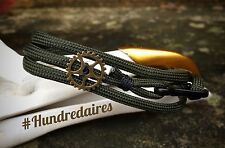 Steampunk/rock/punk paracord bracelet with gears and carabiner (Green/Black)