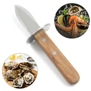 Wooden Handle Oyster Knife Sharp-edged Shucker Shell Seafood Opener Tool