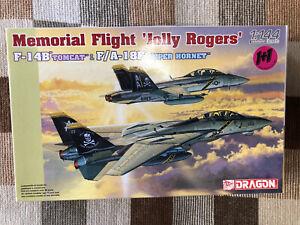 "1/144 Dragon 1+1 F-14B & F/A-18F ""Jolly Rogers"" Aircraft Military Model 4591"