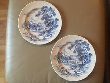 Vintage Wedgewood Dinner Plates, Set of 2, Countryside in Blue, England