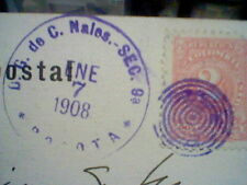 SOUTH  BOGOTA VIEW COLOMBIA CANCELLED S CENTS STAMP 1908 TO MADRID 2 CENTS STAMP