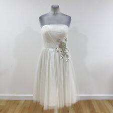 NEW COAST Ivory BELLE BANDEAU Strapless Bridal Occasion Dress Size UK 16 170