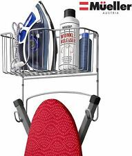 Mueller Ironing Board Hanger Wall Mount with Large Storage Basket and Hooks.
